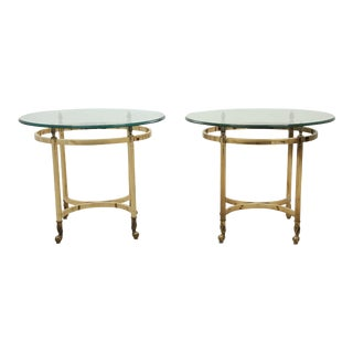 Oval Brass and Glass End Tables - A Pair