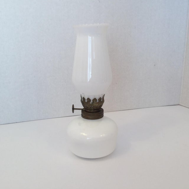 Milk Glass Oil Lamp For Sale - Image 11 of 11