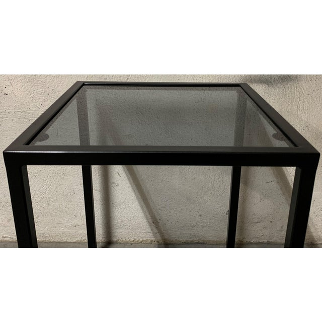 2010s New Modern Square Black Table With Fumee Glass Top, Indoor or Outdoor For Sale - Image 5 of 7