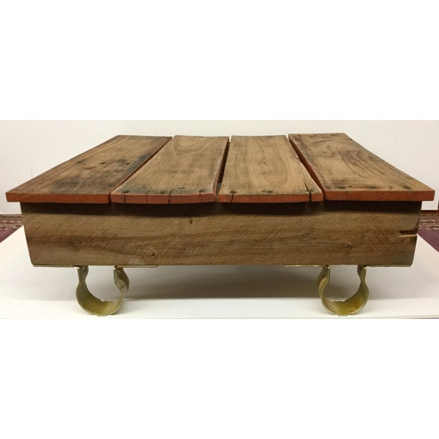 Boho Chic Low Reclaimed Hardwood Meditation Table For Sale - Image 13 of 13