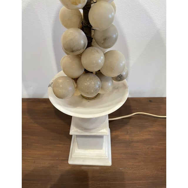 Mid-Century Modern White Marble Grape Accented Oval Shade Base Lamp For Sale - Image 3 of 6