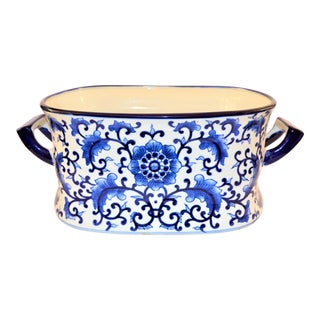1980s Vintage Monumental Chinoiserie Blue & White Botanical Foot Bath For Sale