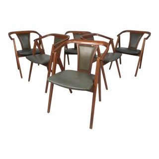 Set of Six Vintage Modern Dining Chairs For Sale
