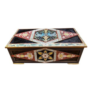 Circa 1890 French Cloisonne and Pressed Amber Glass Gilt Brass Jewelry Box For Sale