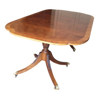 1980s Americana Baker Furniture Historical Charleston Mahogany Pedestal Dining Table For Sale