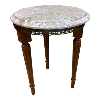 Vintage French Bouillotte Italian Marble Top Side Table For Sale