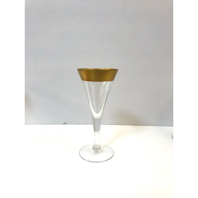 Set of Six Crystal Gold Rim Cordial Glasses by Dorothy Thorpe For Sale - Image 9 of 13