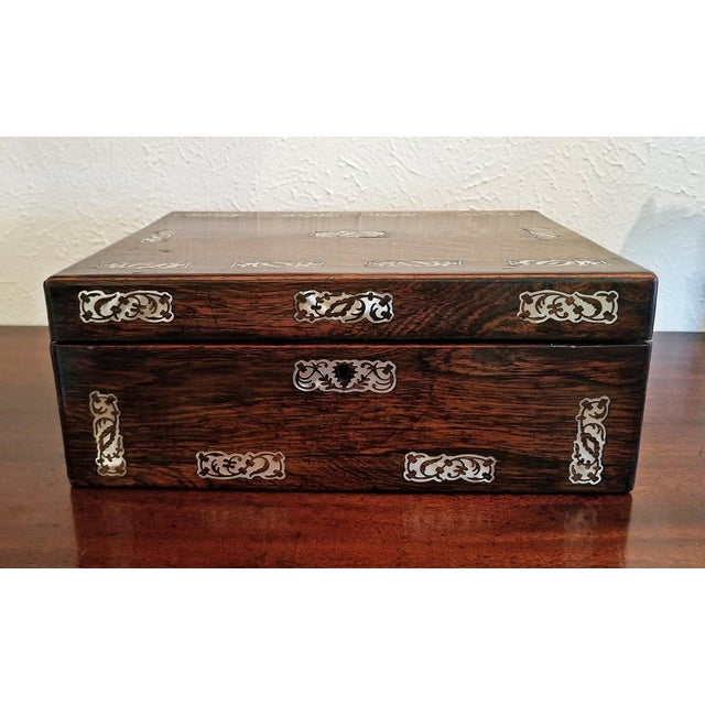 19c British Rosewood and Mop Inlaid Dressing Table Box For Sale - Image 9 of 13