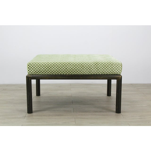 1970s Mastercraft Solid Brass Ottoman With Chenille Textile For Sale - Image 5 of 7