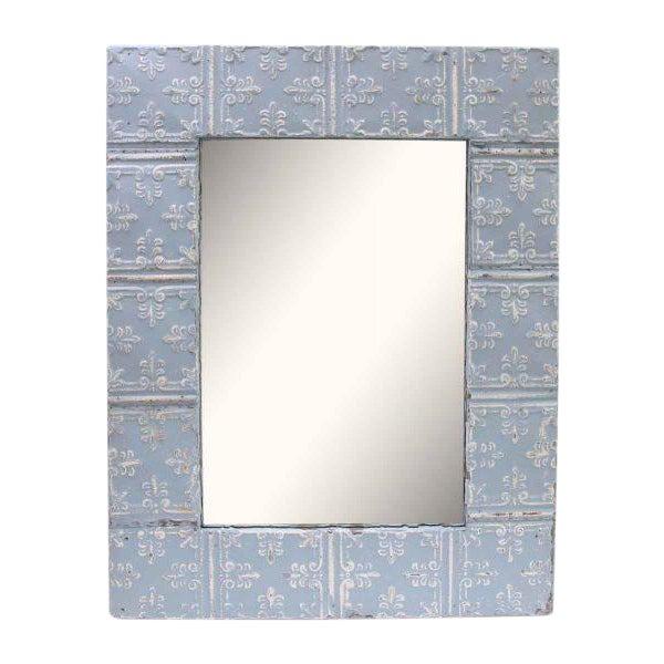Baby Blue Fleur De Lis Tin Panel Mirror - Image 1 of 3