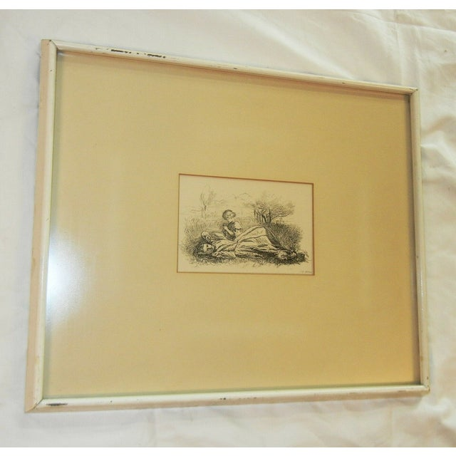 """Mid 19th Century Antique Sir John Everett Millais """"Summer Indulgence"""" Black and White Etching Print For Sale - Image 4 of 7"""