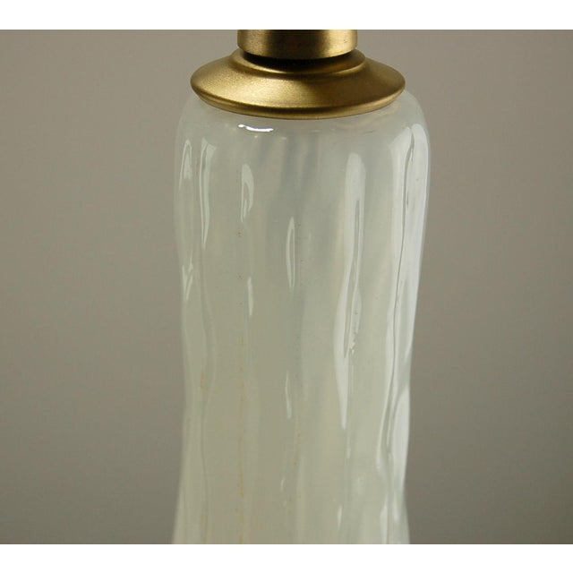 Gold Marbro Murano Opaline Glass Table Lamps White For Sale - Image 8 of 10