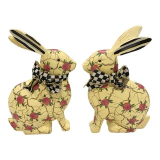 Contemporary Mackenzie Childs Bunnies - a Pair For Sale