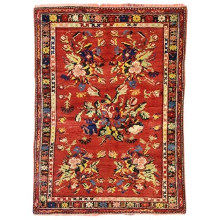 Vintage Mid-Century Turkish Oushak Rug - 3′5″ × 4′7″ For Sale