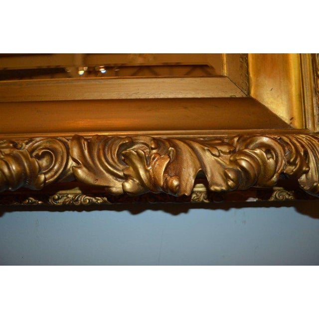Wood 19th Century Italian, Gilded Large Mirror Hand Carved on Wood and Plaster For Sale - Image 7 of 8