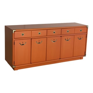 Mid Century Newly Refinished Orange Campaign Style Dresser by Drexel For Sale