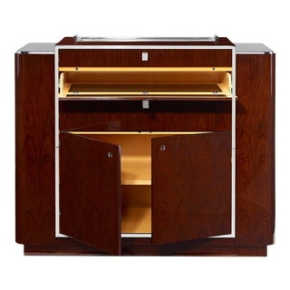 Ralph Lauren Rosewood & Polished Steel Duke Bar - Art Deco Cabinet For Sale
