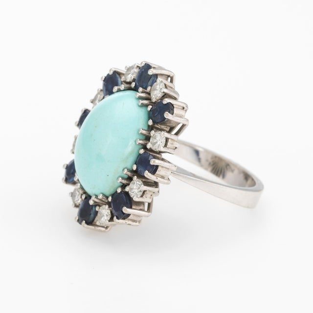 Vintage Turquoise Sapphire Diamond Ring 18 Karat White Gold Estate Fine Jewelry For Sale - Image 4 of 7