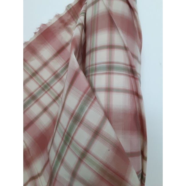 2000 - 2009 Pindler and Pindler Designer Silk Infused Woven Raspberry Pink and Light Green on Cream Woven Plaid - 10 Yards For Sale - Image 5 of 11