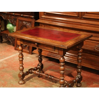 19th Century, French, Louis XIII Carved Walnut Table Desk With Red Leather Top Preview
