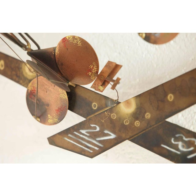 Red Curtis Jere Brass Wall Sculpture of Airplanes and Airfield, Signed, 1970s For Sale - Image 8 of 11