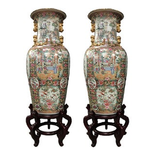 Palatial Rose Medallion Export Chinese Vases - A Pair
