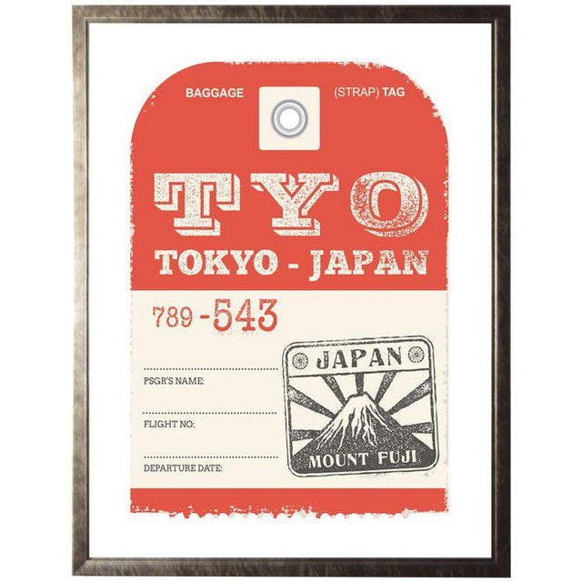 Tokyo Travel Ticket in Pewter Shadowbox