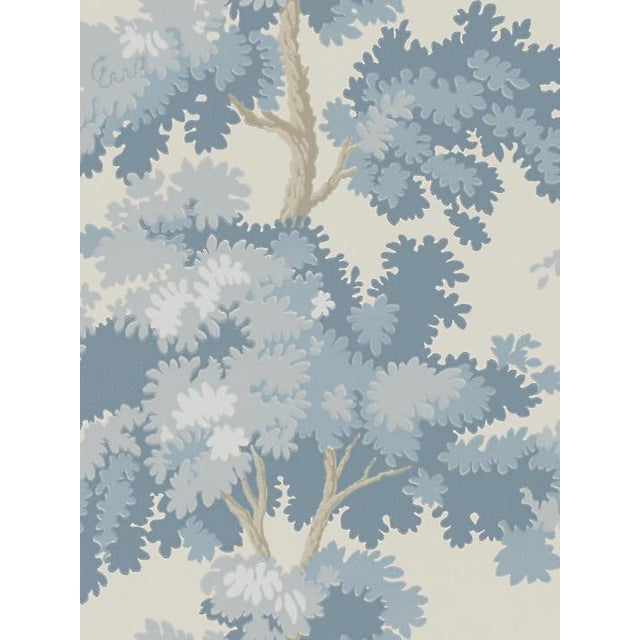 Traditional Sample, Scalamandre Raphael, Blue Wallpaper For Sale - Image 3 of 3