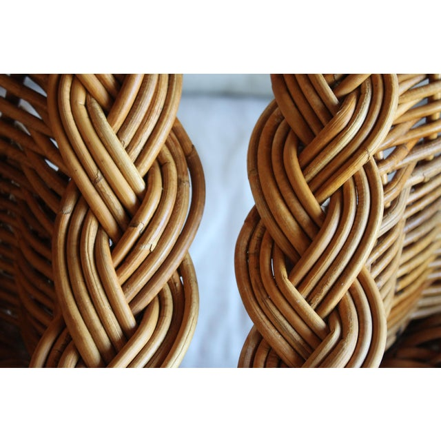 Adirondack Vintage French Woven Rattan Bar Stools - a Pair For Sale - Image 3 of 13