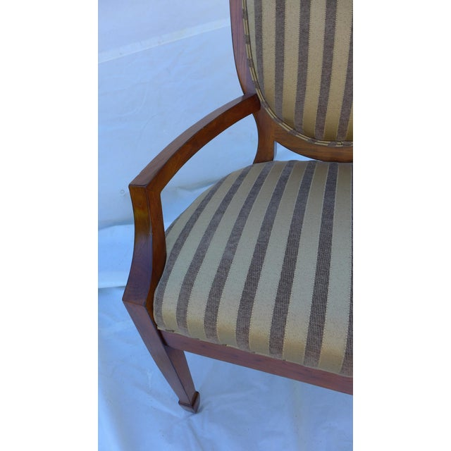 1990s Shield-Back Striped Armchair For Sale - Image 5 of 7