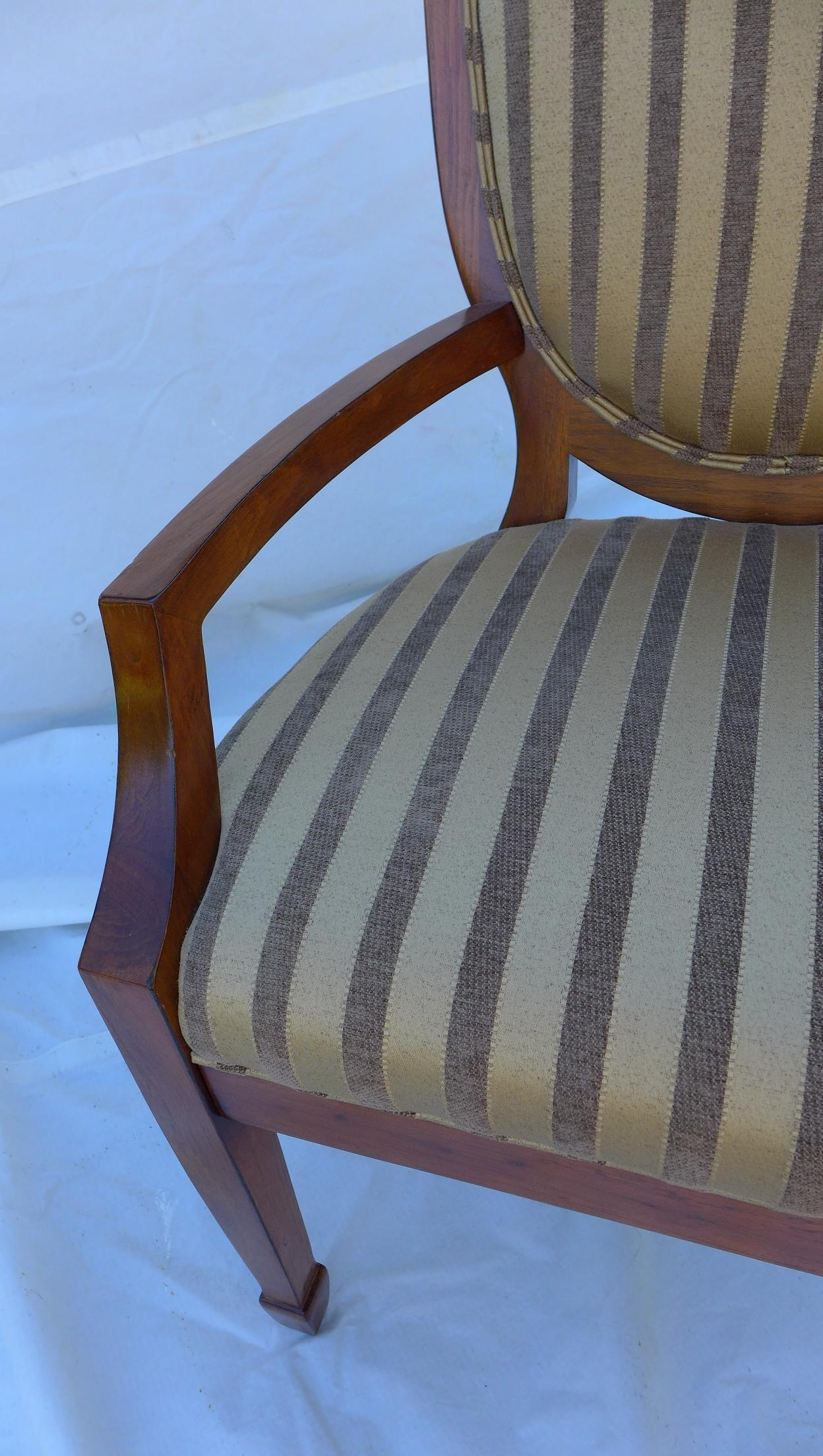 Shield Back Striped Armchair For Sale   Image 5 Of 7