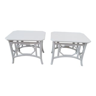 Vintage Ficks Reed Bamboo Side Tables - A Pair For Sale