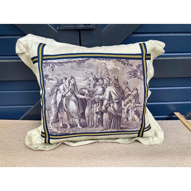 Antique Eggplant Toile Textile Throw Pillow For Sale In Philadelphia - Image 6 of 6