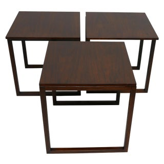 Mid Century Danish Modern Rosewood Nesting Tables, Set of Three For Sale