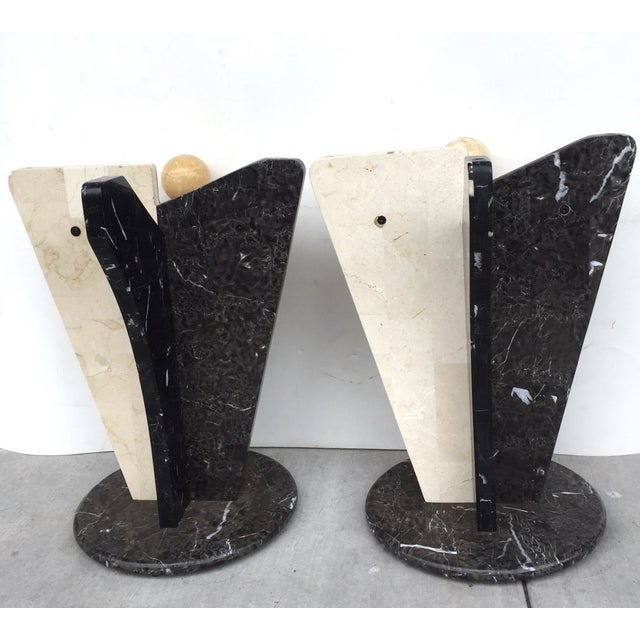 Multicolored Marble/Stone Side Tables - Pair - Image 7 of 7