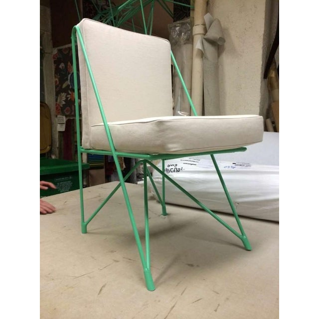 Raoul Guys Rare Set of Four Aqua Metal Chairs, Newly Recovered in Canvas Cloth.