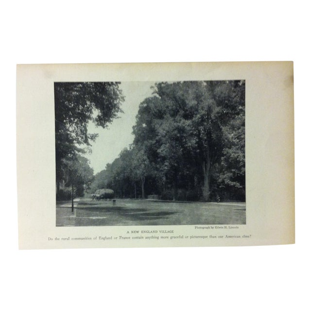 "Antique National Geographic Print ""A New England Village"" 1916 For Sale"