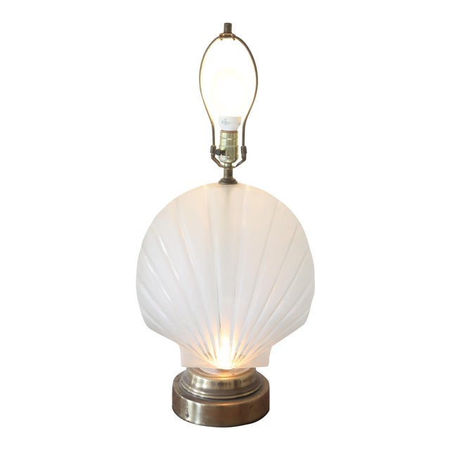Frosted Glass Clam Shell Lamp With Brass Base - Image 1 of 6