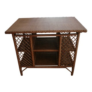 "Early 1900s Antique Natural Wicker Book ""Library"" Table"