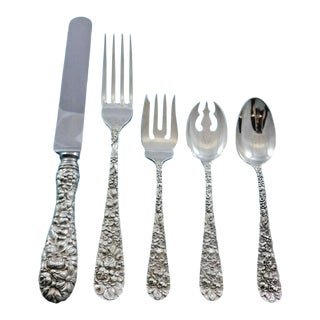 Rose by Stieff Sterling Silver Flatware Set Service 30 Pieces Repousse Dinner For Sale