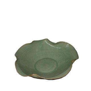Asian Modern Lotus Leaf Celadon Porcelain Plate