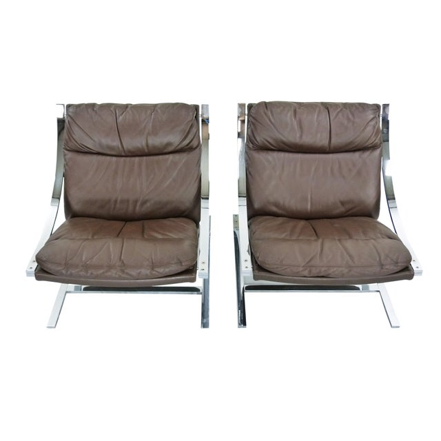 Paul Tuttle 1960s Brown Leather Zeta Chairs - Pair - Image 3 of 10
