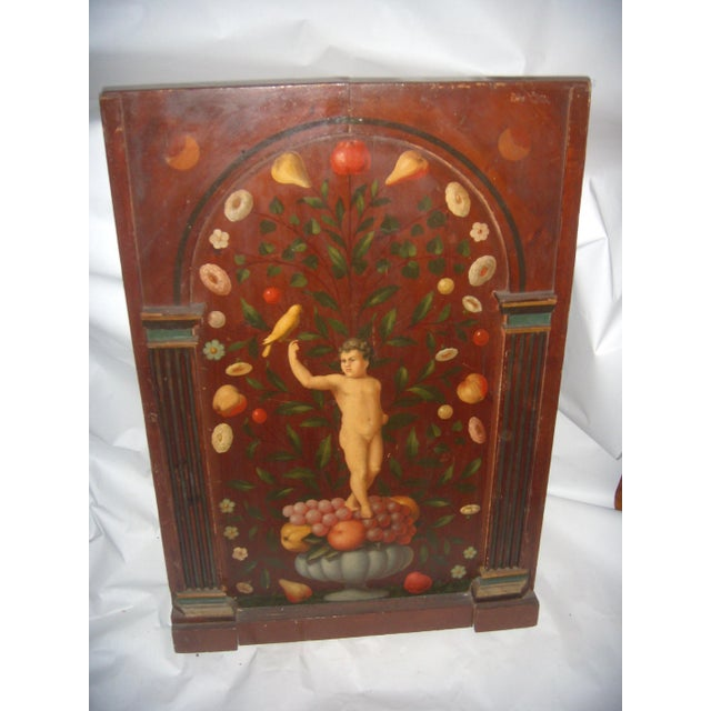 Antique Painted French Wood Panel of Cherub & Fruit & Bird - Image 3 of 11