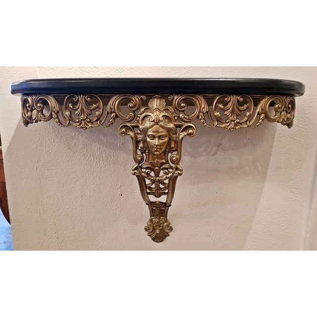 Early 20c French Art Nouveau Style Brass Wall Bracket Shelf For Sale In Dallas - Image 6 of 10