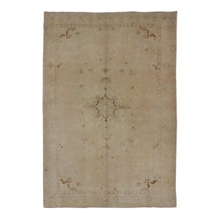 Midcentury Vintage Turkish Oushak Rug With Stylized Floral Design in Cream For Sale