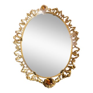 Vintage Ornate Gold Jeweled Vanity Mirror