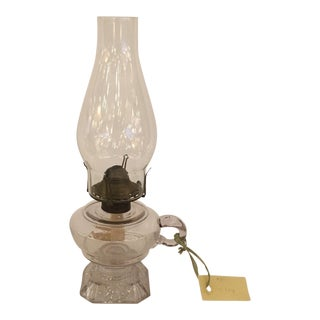 Vintage 1880s Glass Oil Lamp For Sale