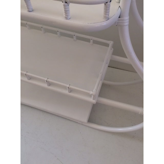 White 1970s Regency White Rattan Regency Bar Cart For Sale - Image 8 of 13