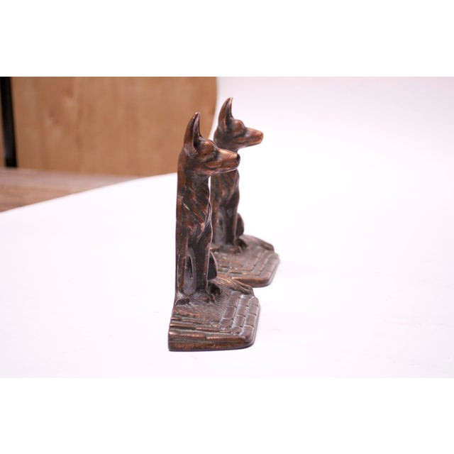 Metal Pair of 1920s Art Colony Industries Cast Iron 'German Shepherd' Bookends For Sale - Image 7 of 13