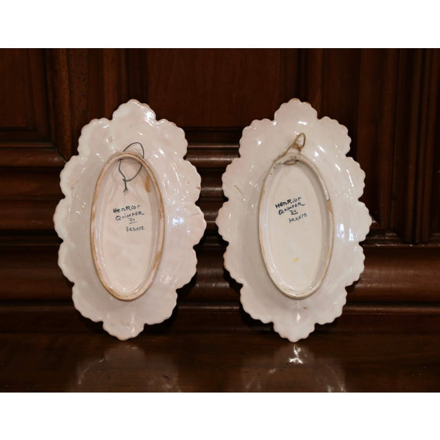 White Pair of 19th Century French Faience Oval Wall Plates Signed Henriot Quimper For Sale - Image 8 of 11